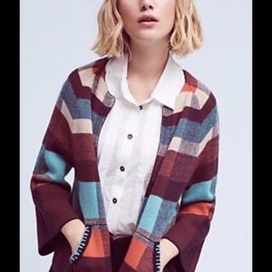 Anthropologie HWR Plaid Zip Front Cardigan Small
